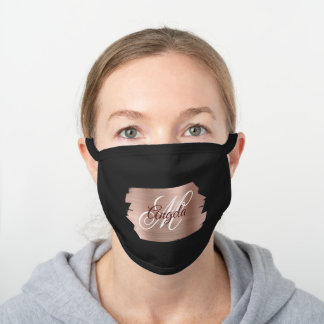 Faux Rose Gold Brushed Foil Monogram Black Cotton Face Mask