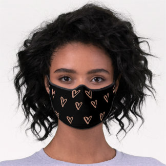Faux Rose Gold Scribbled Hearts on Black Premium Face Mask