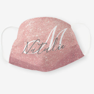 Faux Rose Pink Gold Glitter Monogram Name Cloth Face Mask