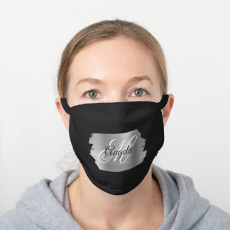 Faux Silver Brushed Metal Foil Monogram Black Cotton Face Mask
