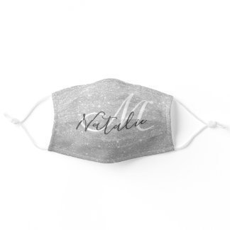 Faux Silver Glitter Monogram Name Adult Cloth Face Mask