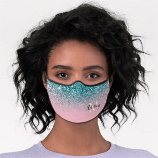 Faux Teal Glitter Pink Ombre Monogrammed Premium Face Mask