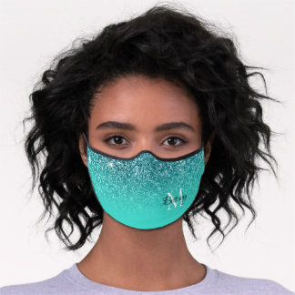 Faux Teal Glitter Turquoise Ombre Monogrammed Premium Face Mask