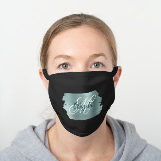 Faux Teal Mint Brushed Metal Foil Monogram Black Cotton Face Mask