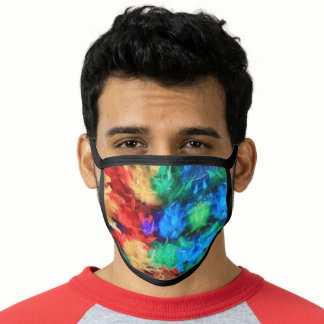 Feathers Rainbow Flag Colors Gay Design GLBTQ Face Mask