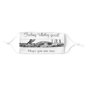 'Feeling Whaley Good' Quirky Whale Vintage Etching Adult Cloth Face Mask