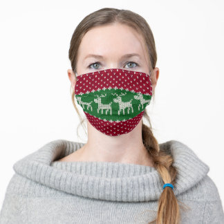 festive Christmas faux ugly sweater Adult Cloth Face Mask