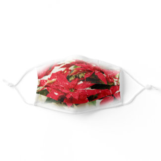 Festive Christmas Red White Poinsettias Adult Cloth Face Mask