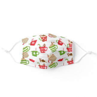 Festive Hot Drinks Christmas Holidays Pattern Adult Cloth Face Mask