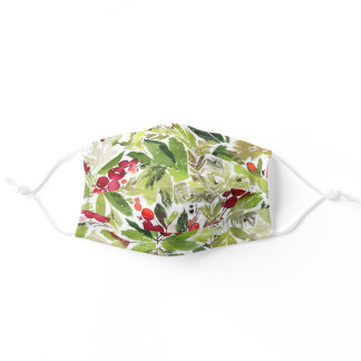 festive watercolor foliage red and green botanical adult cloth face mask