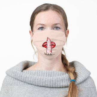 Finger On Lips - Shhh.. - Choose /Add Color / Text Adult Cloth Face Mask