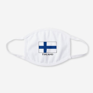 Finland (Finnish) Flag White Cotton Face Mask