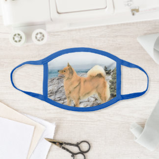 Finnish Spitz at Seashore Painting - Dog Art Face Mask