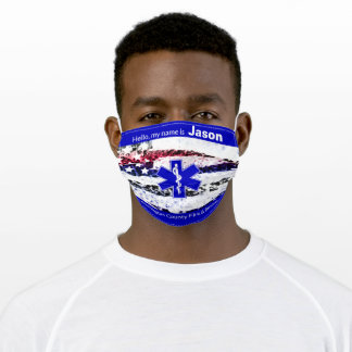 Fire and Rescue, EMS Star Life Symbol Adult Cloth Face Mask