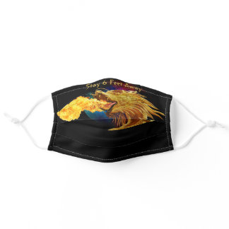Fire Breathing Dragon Black Background with Moon Adult Cloth Face Mask