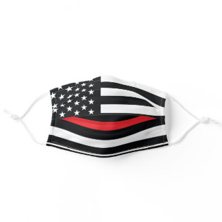 Firefighter Thin Red Line American Flag Fireman Adult Cloth Face Mask