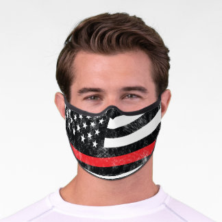 Firefighter Thin Red Line American Flag Fireman Premium Face Mask