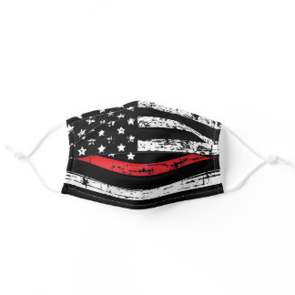Firefighter Thin Red Line American Flag Grunge Adult Cloth Face Mask