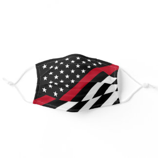Firefighter Thin Red Line American Flag Stars Adult Cloth Face Mask