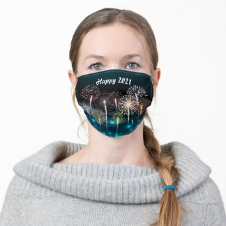 Fireworks Design Happy 2021 Adult Cloth Face Mask