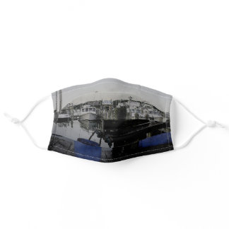 Fishing Boat Marina in Montauk New York Adult Cloth Face Mask