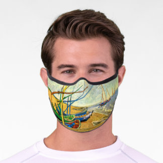 Fishing Boats on the Beach by Vincent van Gogh Premium Face Mask