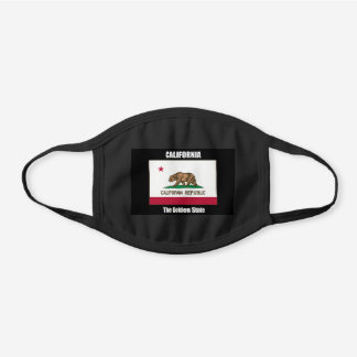 Flag of California, the Golden State Black Cotton Face Mask