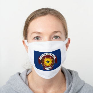 Flag of City of El Paso, Texas White Cotton Face Mask