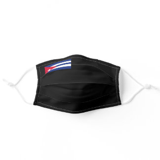 Flag of Cuba on Black Background Adult Cloth Face Mask