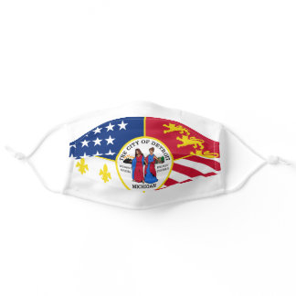 Flag of Detroit, Michigan Adult Cloth Face Mask