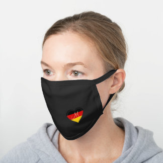 Flag of Germany Heart Monogrammed Black Cotton Face Mask