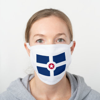 Flag of Indianapolis, Indiana White Cotton Face Mask