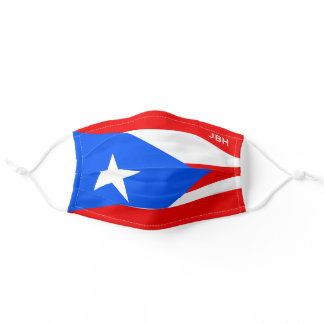 Flag of Puerto Rico Cloth Face Mask with Monogram