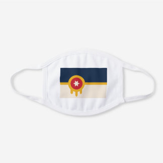 Flag of Tulsa, Oklahoma White Cotton Face Mask