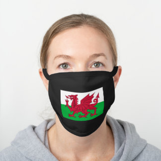 Flag of Wales Black Cotton Face Mask