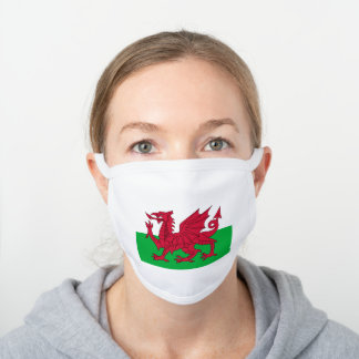 Flag of Wales White Cotton Face Mask
