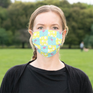 Flamingo Blue Yellow Polka Dot Patchwork Pattern Adult Cloth Face Mask