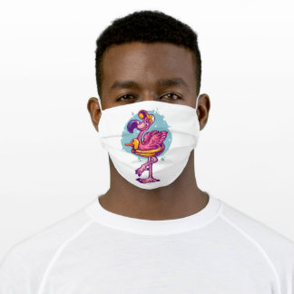 Flamingo in summer holyday adult cloth face mask