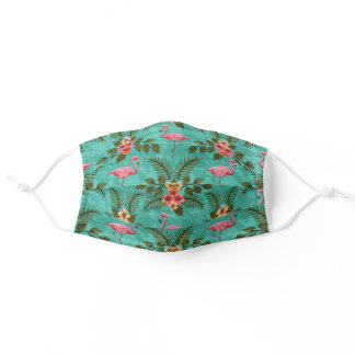 Flamingos & Flowers w/ Plumeria and Hibiscus Adult Cloth Face Mask