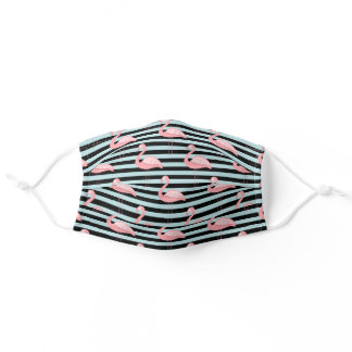Flamingos & Stripes Adult Cloth Face Mask