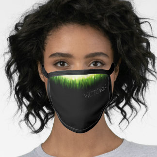 Flashy Neon Green Light Graphic Black Custom Name Face Mask