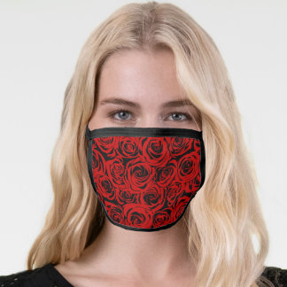 Floral Burgundy Red and Black Rose Flowers Pattern Face Mask