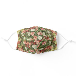 Floral Carnations Pink White Red Yellow Green Adult Cloth Face Mask
