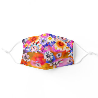 Floral Digital Collage Colorful Flower Photography Adult Cloth Face Mask