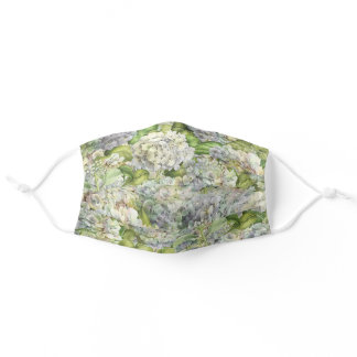 Floral Faded Blue Hydrangea Pattern Adult Cloth Face Mask