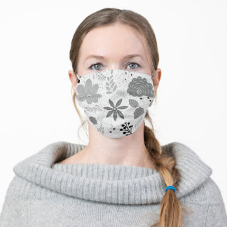 Floral Flowers Foliage Pattern Gray Adult Cloth Face Mask
