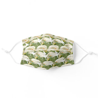 Floral Green White Calla Lilies and Fern Pattern Adult Cloth Face Mask