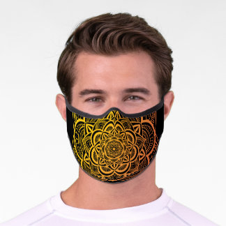 Floral Mandala Gold Orange Gradient Art Premium Face Mask