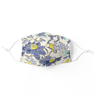 Floral Motif in Yellow and Blue Adult Cloth Face Mask