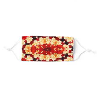 Floral Ornamental Symmetrical Yellow Orange Patter Adult Cloth Face Mask